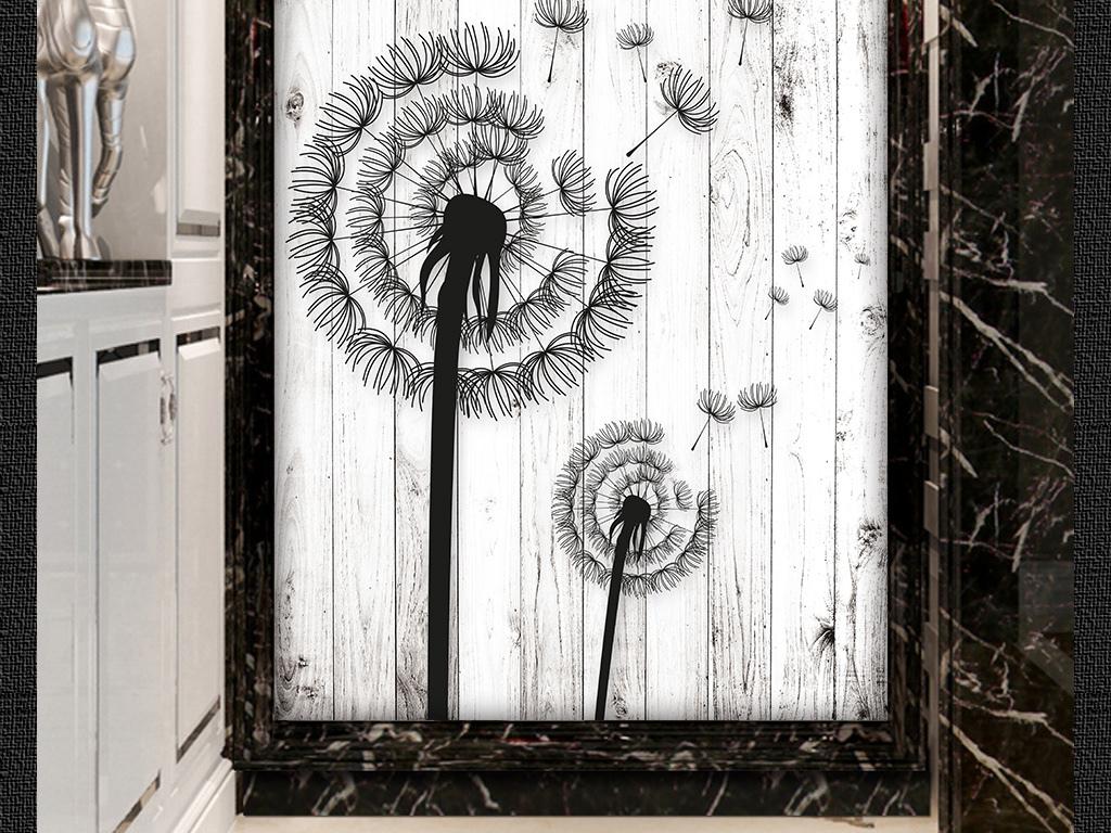 背景墙|装饰画 玄关 3d玄关 > 木板蒲公英艺术玄关画背景墙  版权图片