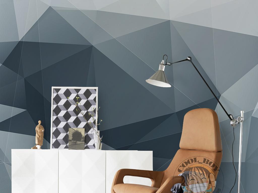 现代简约时尚素雅手绘三角形光影渐变墙纸
