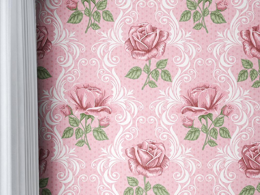 复古蔷薇花美式墙纸壁纸图片