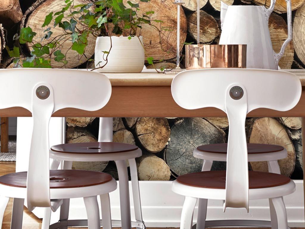 背景墙|装饰画 墙纸 其他 > 复古怀旧质感堆积的圆木客厅卧室墙纸