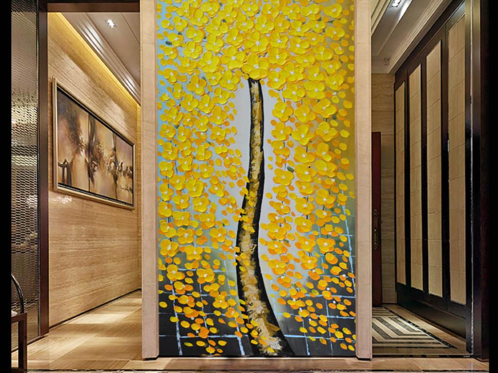 设计作品简介: 高清纯手绘油画发财树玄关 位图, rgb格式高清大图