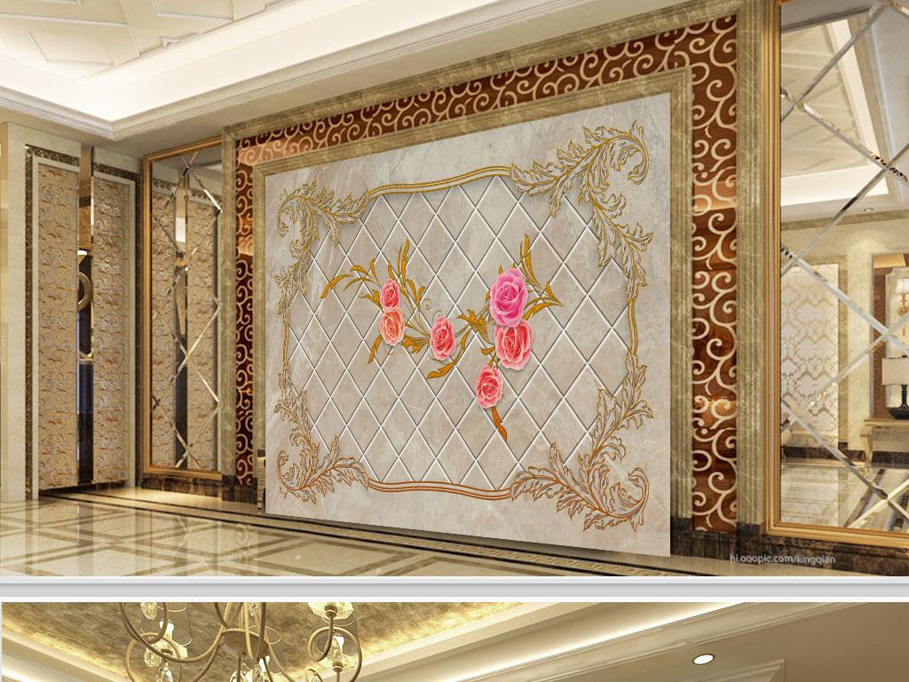 复古边框花纹玫瑰大理石背景墙
