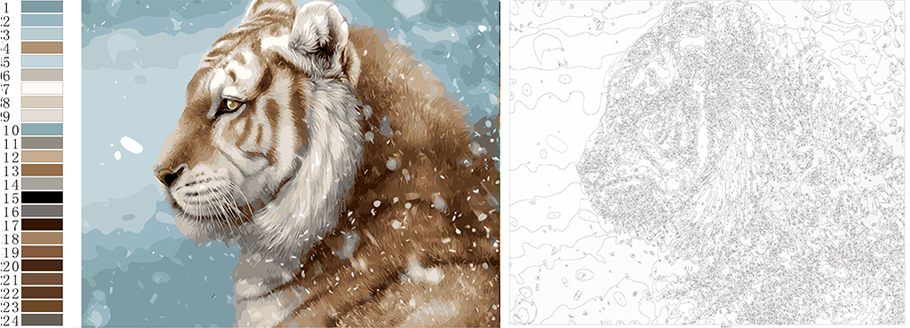 diy数字油画线稿图设计稿矢量图动物老虎