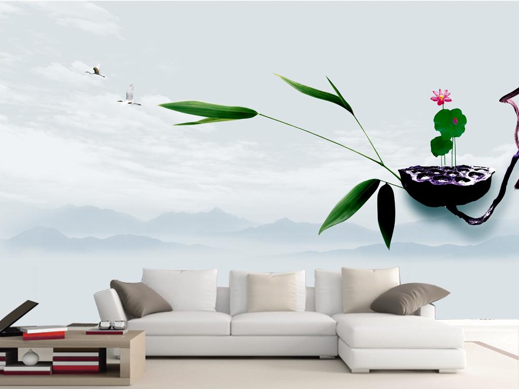 中国风素雅时尚i沙发电视背景墙图片