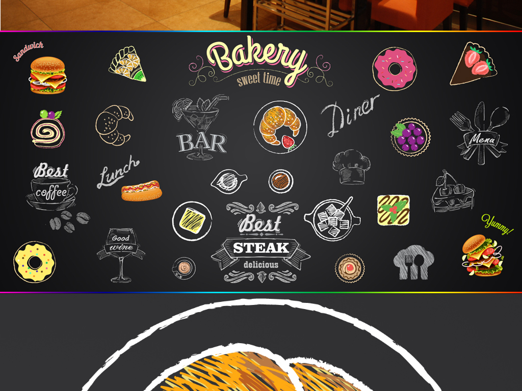背景墙 工装背景墙 酒店|餐饮业装饰背景墙 > 手绘简约快餐甜品店黑板图片