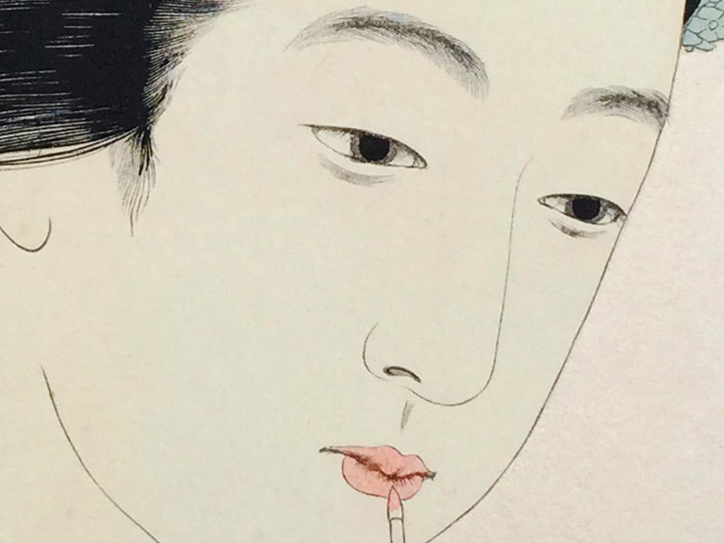 高清浮世绘艺伎化妆装饰画