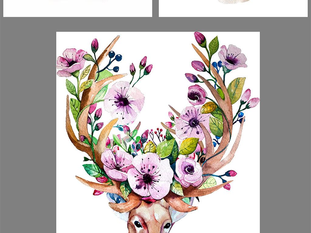背景墙|装饰画 油画 静物油画 > 现代北欧麋鹿马鹿油画装饰画  版权图片