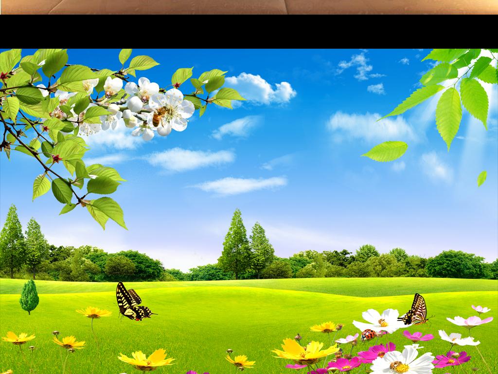 蓝天白云草地鲜花自然美景电视背景墙下载