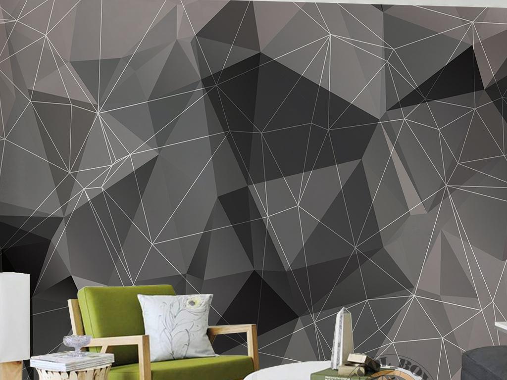 现代简约手绘三角形简单线条手绘几何墙纸
