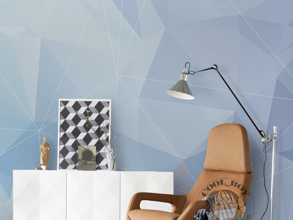 蓝色梦幻唯美手绘三角形手绘几何图案墙纸图片设计_(1