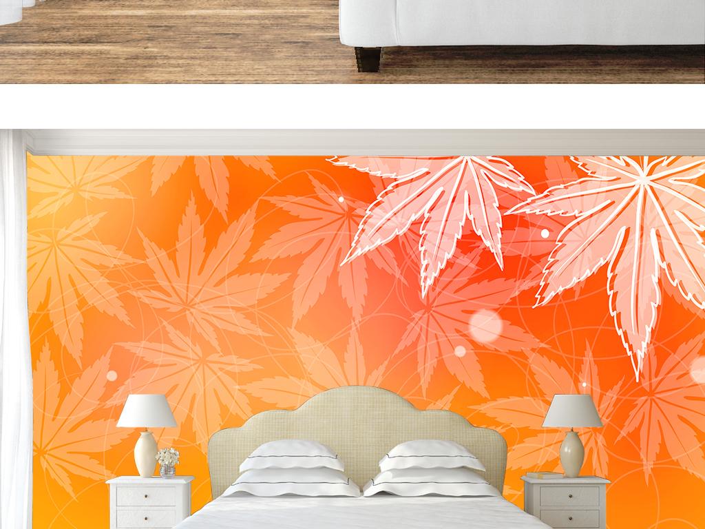 唯美手绘枫叶简约室内壁纸墙纸