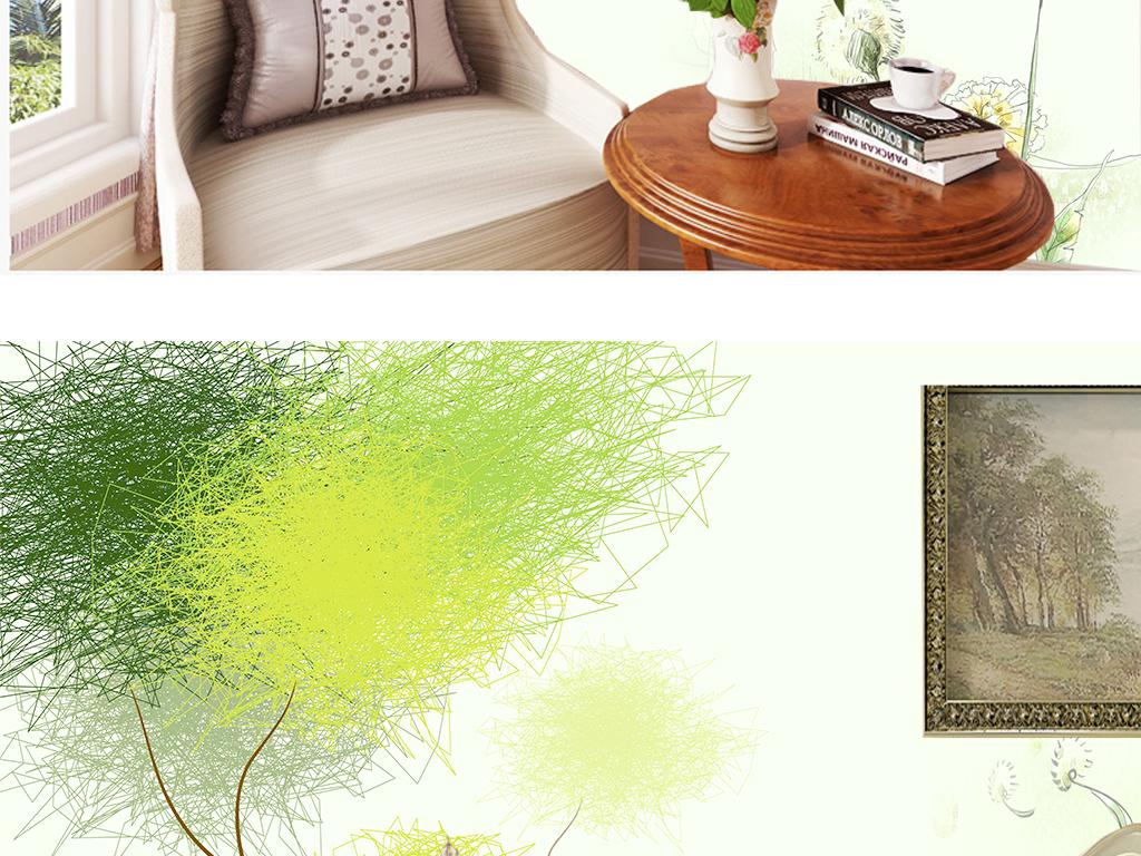 清新手绘绿色清爽室内壁纸墙纸