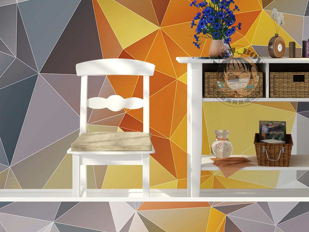 三角形几何图形手绘线条图案金色墙纸图片设计素材_(6