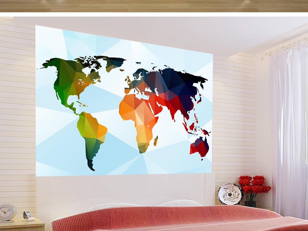3d几何图案世界地图电视沙发背景墙