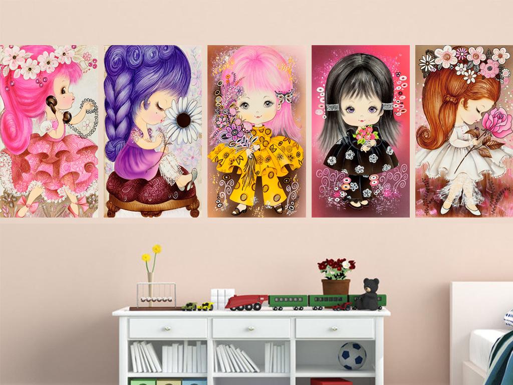 鲜花女孩人物风格画装饰画