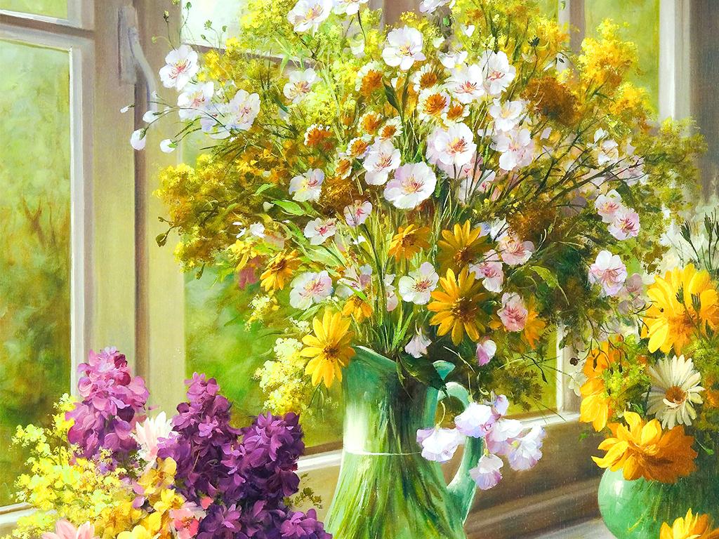 窗台花瓶插花手绘油画挂画装饰画