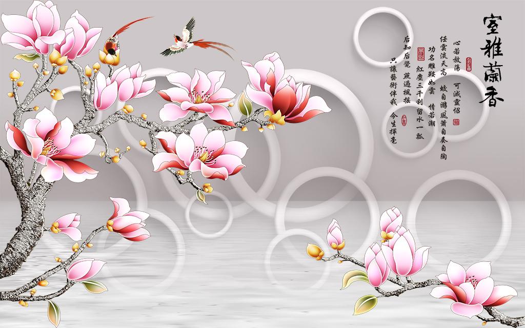 3d圆圈彩雕玉兰花背景墙系列(图片编号:15539330)_3d