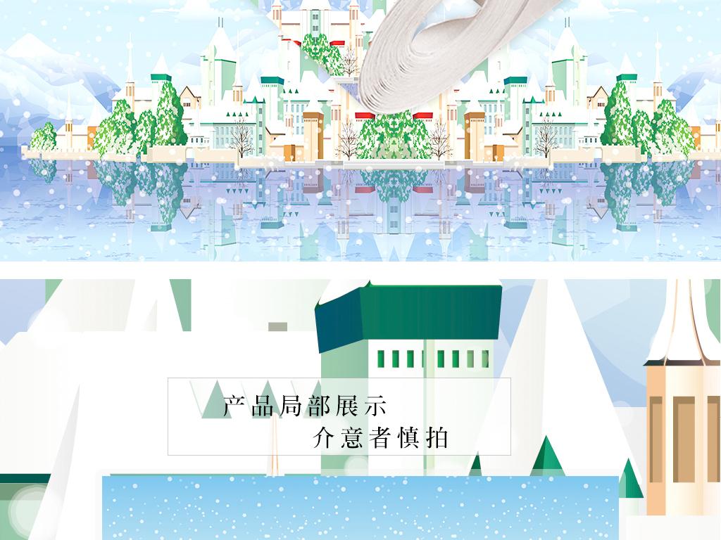 手绘高清海上城堡唯美室内壁纸墙纸