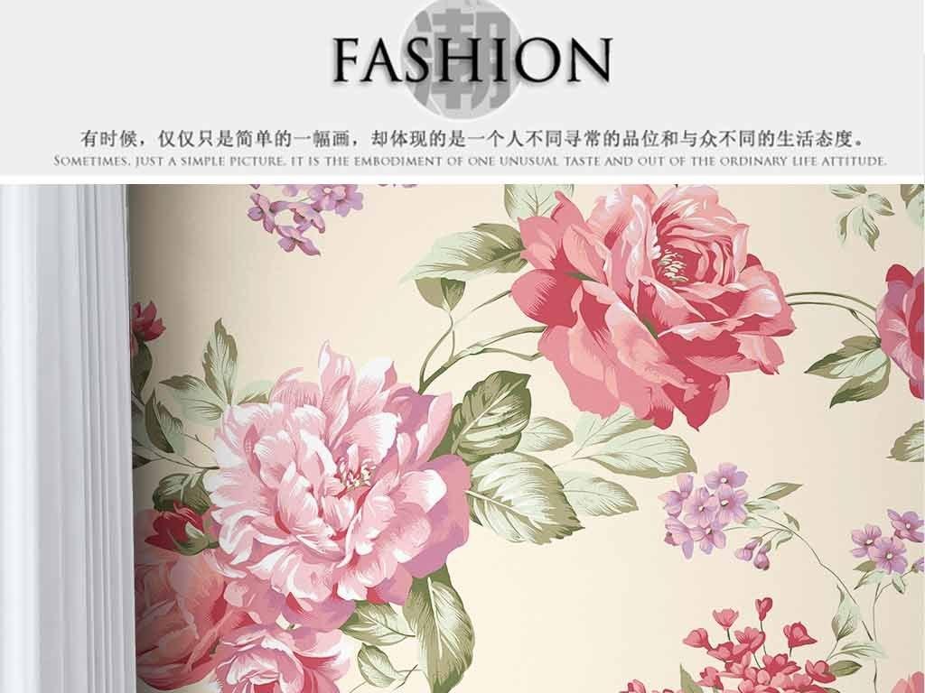 墙|装饰画 墙纸 中式墙纸 > 高清手绘无缝拼接新中式牡丹花室内壁纸图片