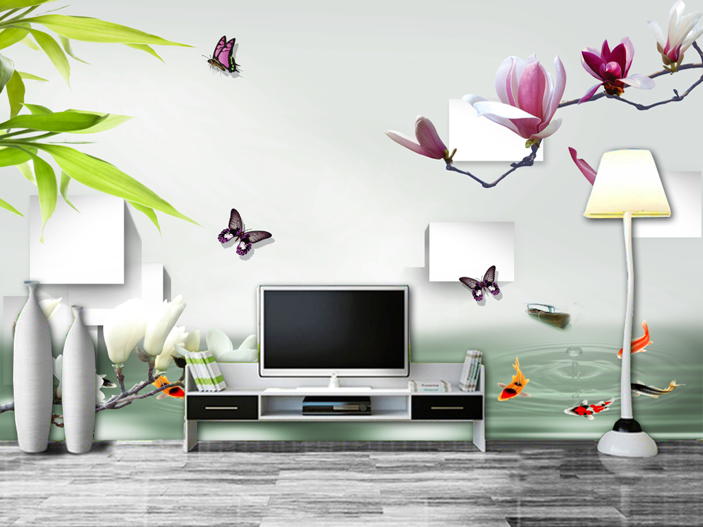 3d立体玉兰花简约电视背景墙