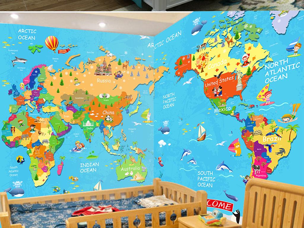 卡通世界地图儿童房壁画背景墙