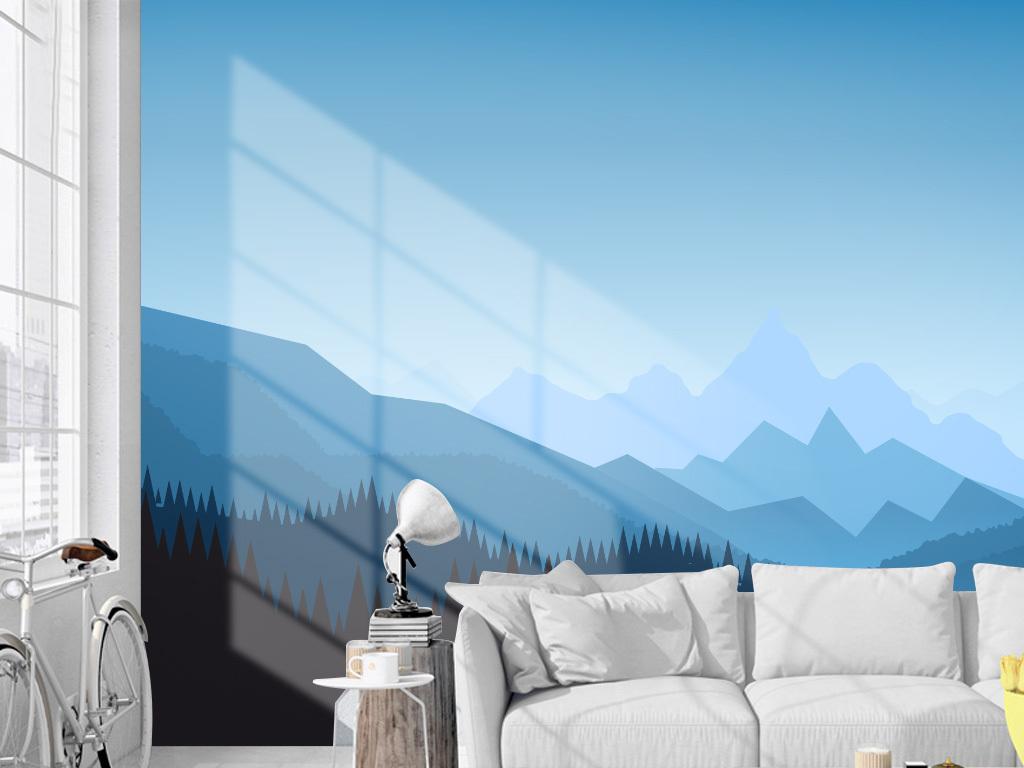 北欧简约群山风景电视背景墙