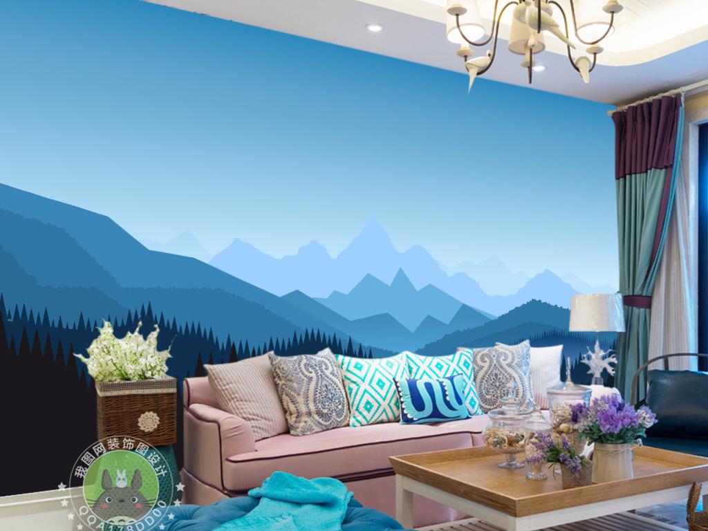 北欧简约群山风景电视背景墙图片