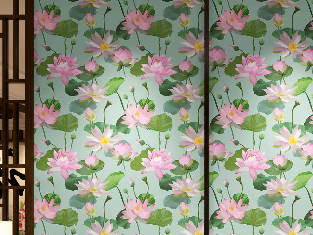 手绘水彩莲花无缝背景墙墙纸