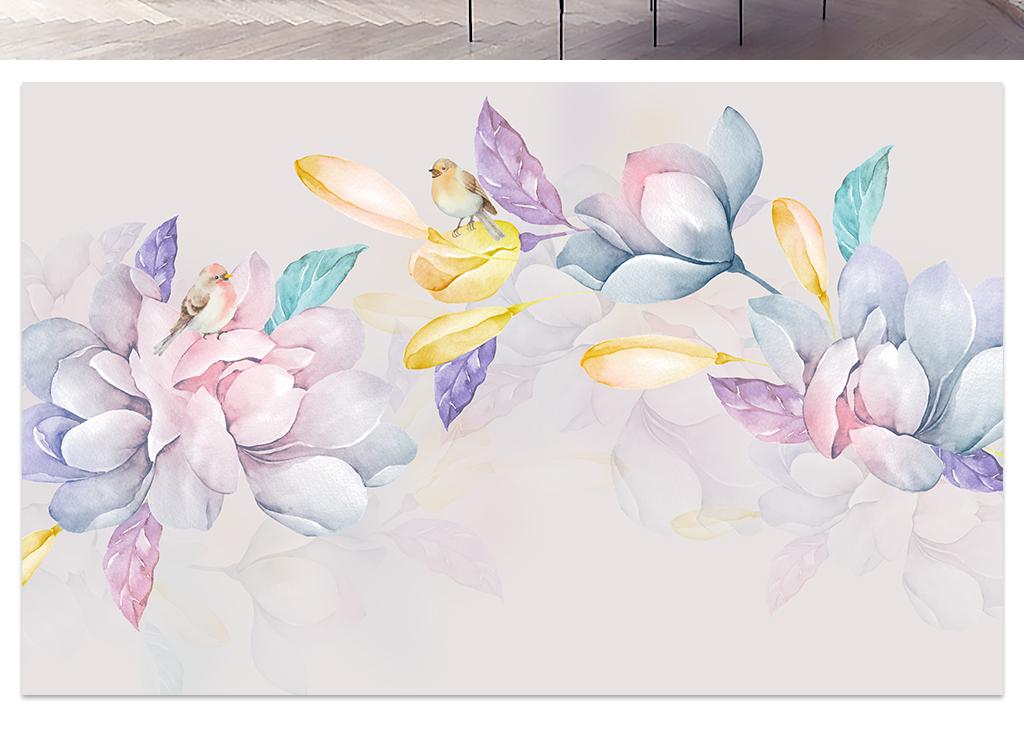 清新淡雅水彩手绘玉兰花电视背景墙