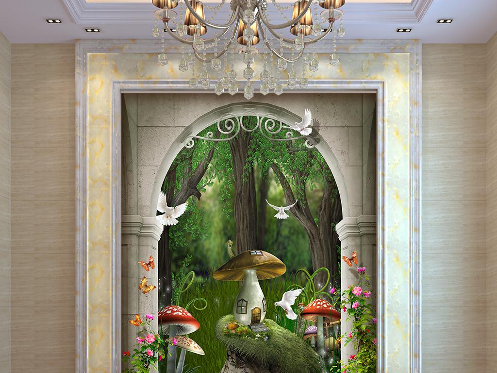 河卡通可爱儿童房壁画墙画壁纸树木花玄关3d现代玄关