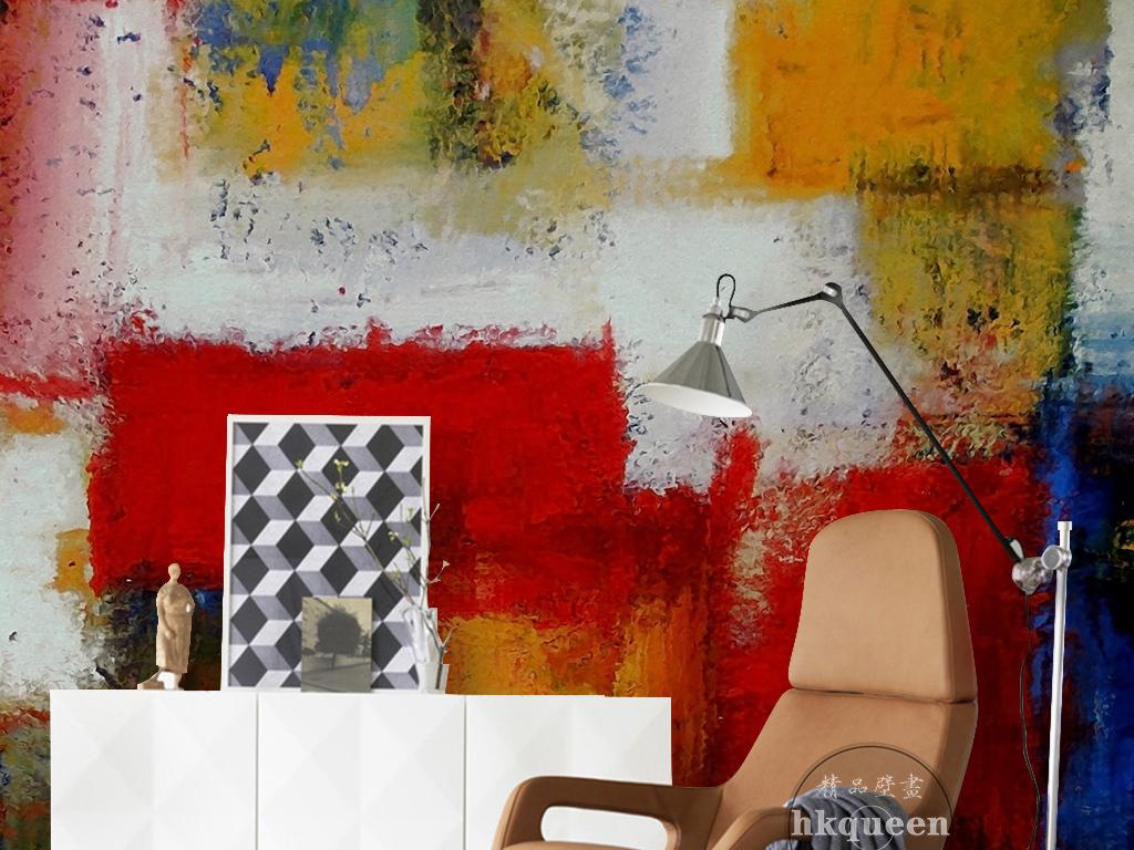 欧式复古大气时尚手绘涂鸦抽象油画背景墙