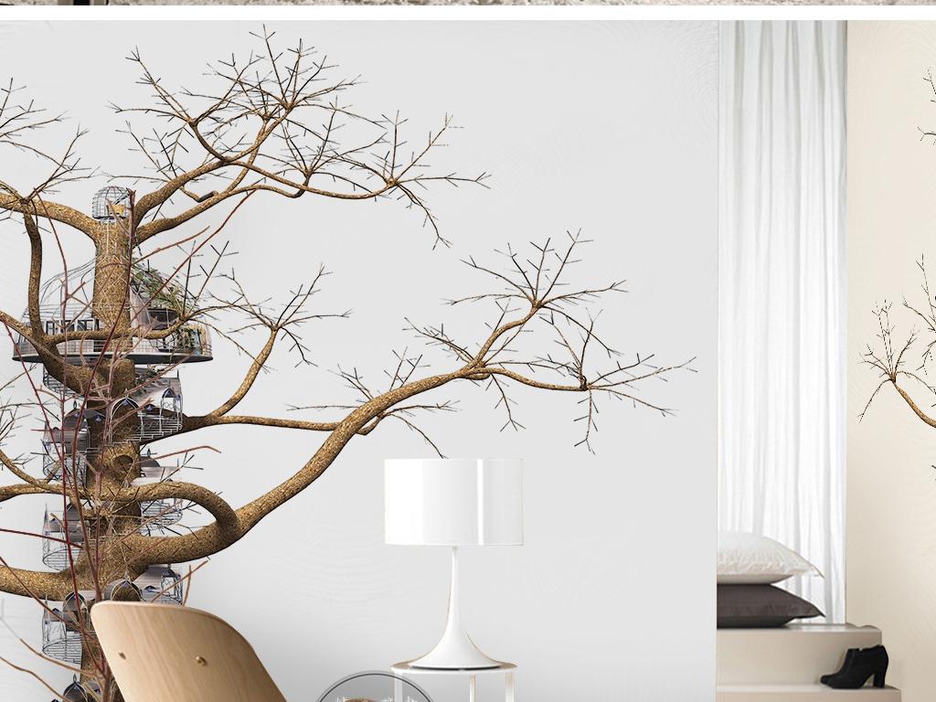 抽象大树鸟笼手绘诗意简约儿童房背景墙