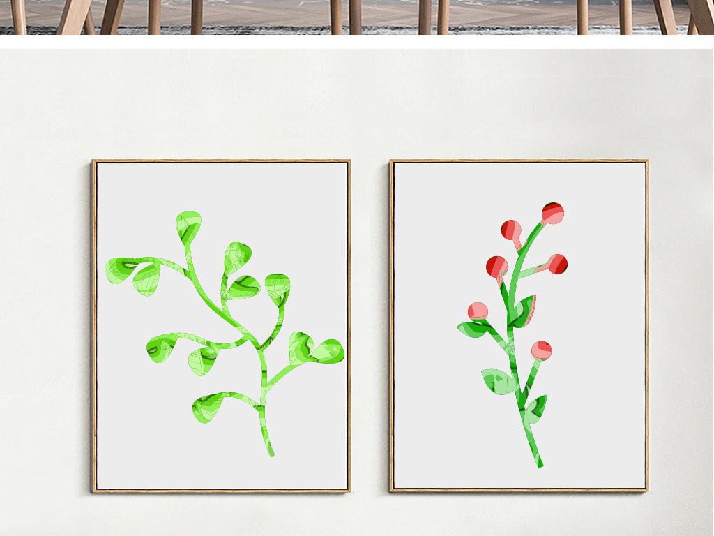 我图网提供精品流行北欧卧室床头沙发墙壁植物花卉小清新装饰画素材