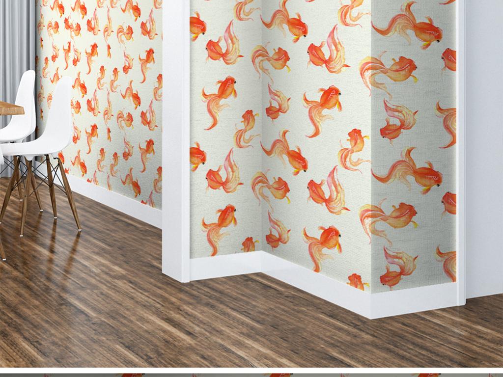 可爱卡通红色小金鱼儿童房艺术壁纸