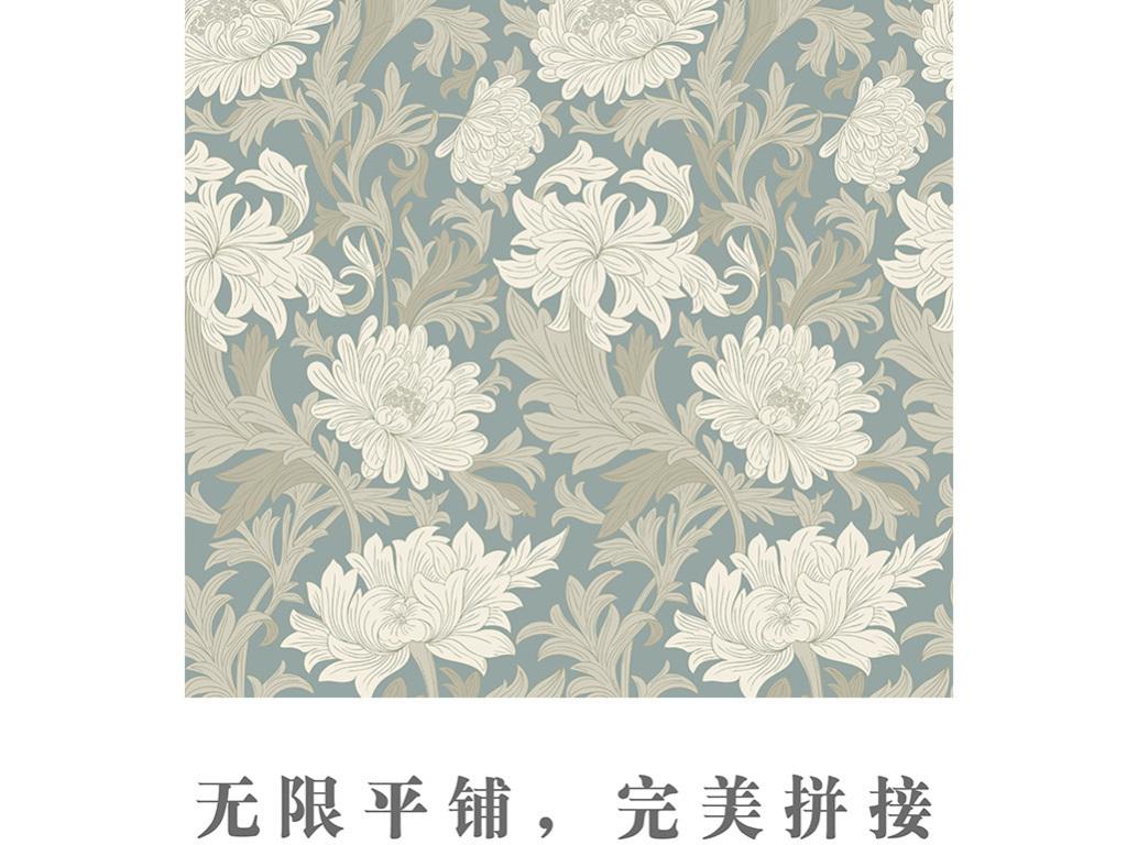 欧式3d梦幻藤蔓叶子花卉艺术壁纸图片
