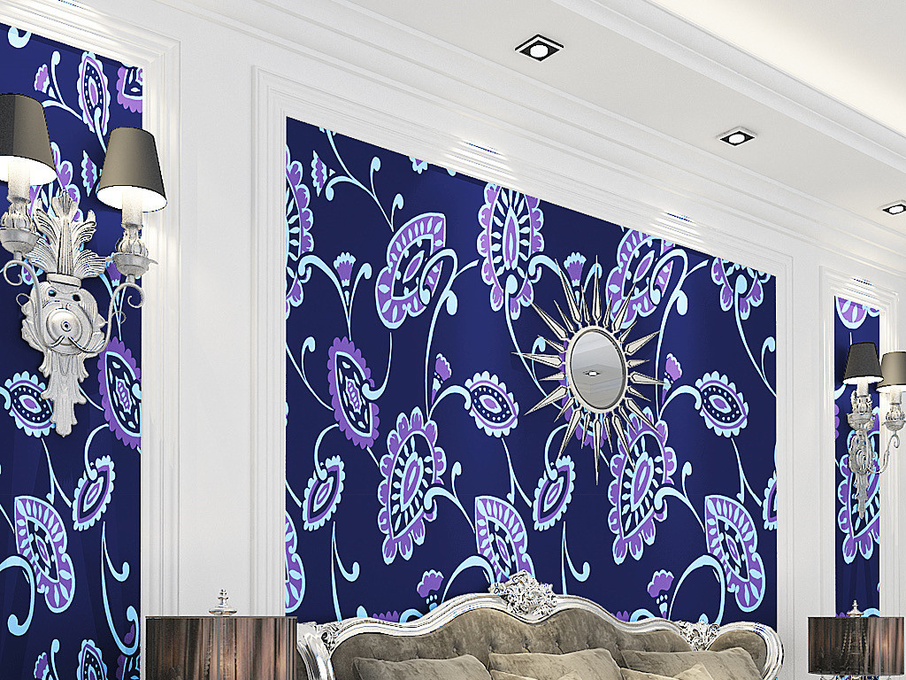蓝色欧式花纹墙纸