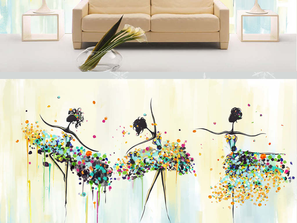 手绘艺术舞蹈电视背景墙装饰画