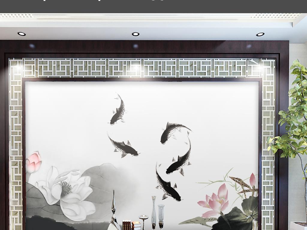 背景墙|装饰画 电视背景墙 电视背景墙 > 水墨荷花鲤鱼电视背景墙