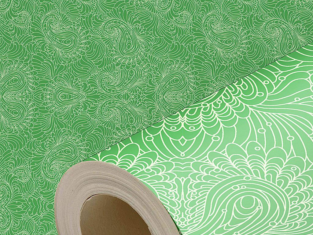 绿色背景白色线框时尚花纹壁纸墙纸