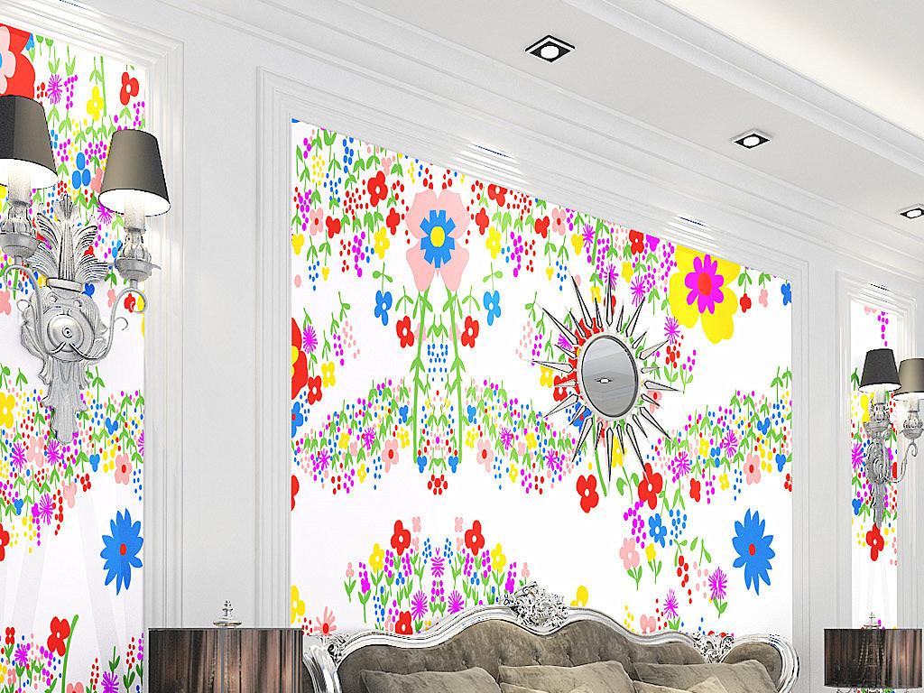 背景墙|装饰画 墙纸 中式墙纸 > 手绘小草小花儿童房墙纸