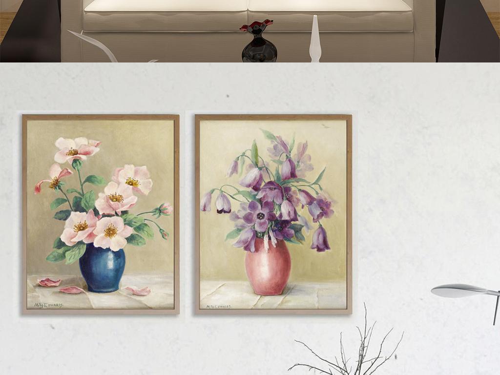 小清新手绘油画花卉静物插花客厅挂画装饰画