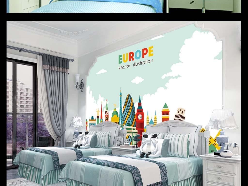 europe城市插画手绘人物手绘背景手绘墙手绘背景墙