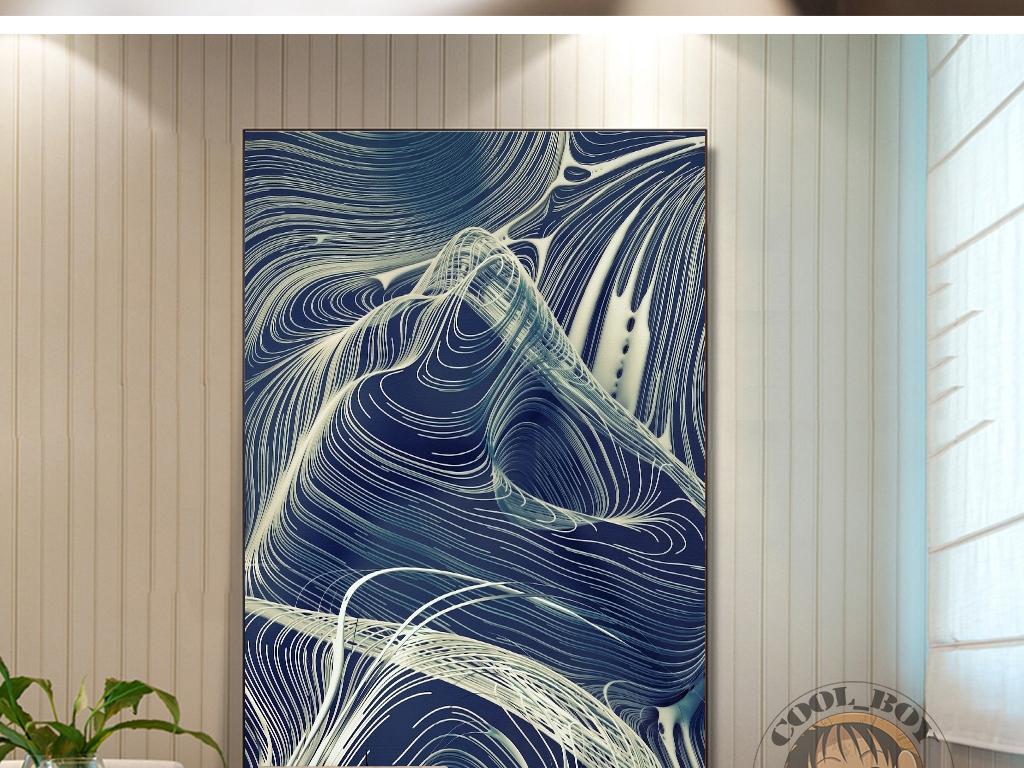 新中式抽象图案手绘绘画时尚线条装饰画