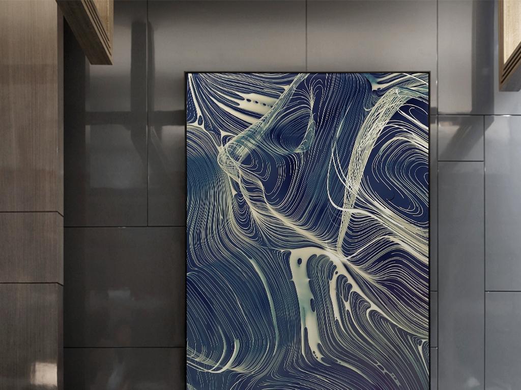 蓝色山川河流简单意境手绘线条抽象图案挂画