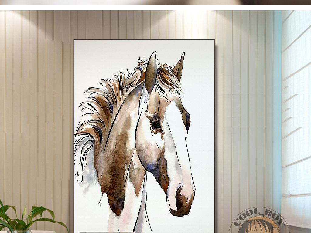 新中式手绘抽象马水彩绘画简约意境装饰画