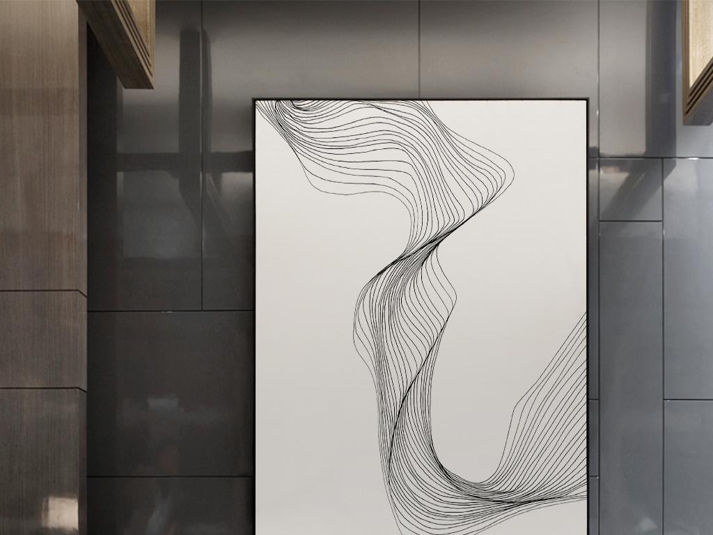 新中式时尚素雅手绘抽象图案简单线条装饰画