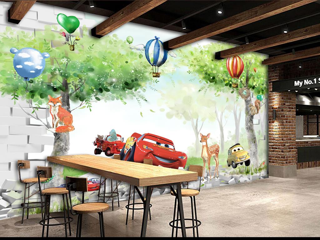 3d卡通唯美儿童房背景墙