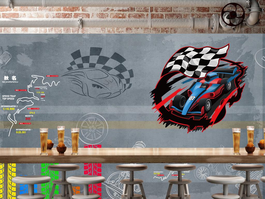 复古赛车手绘酒吧汽车背景墙