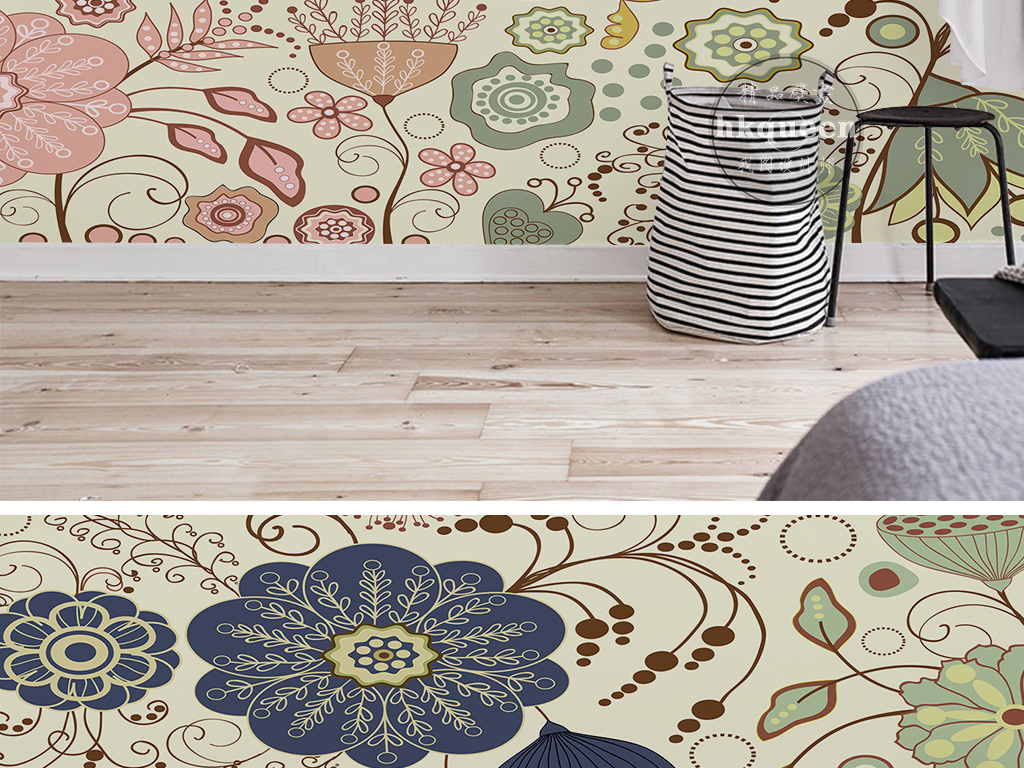 欧式复古时尚手绘花卉花纹小碎花墙纸