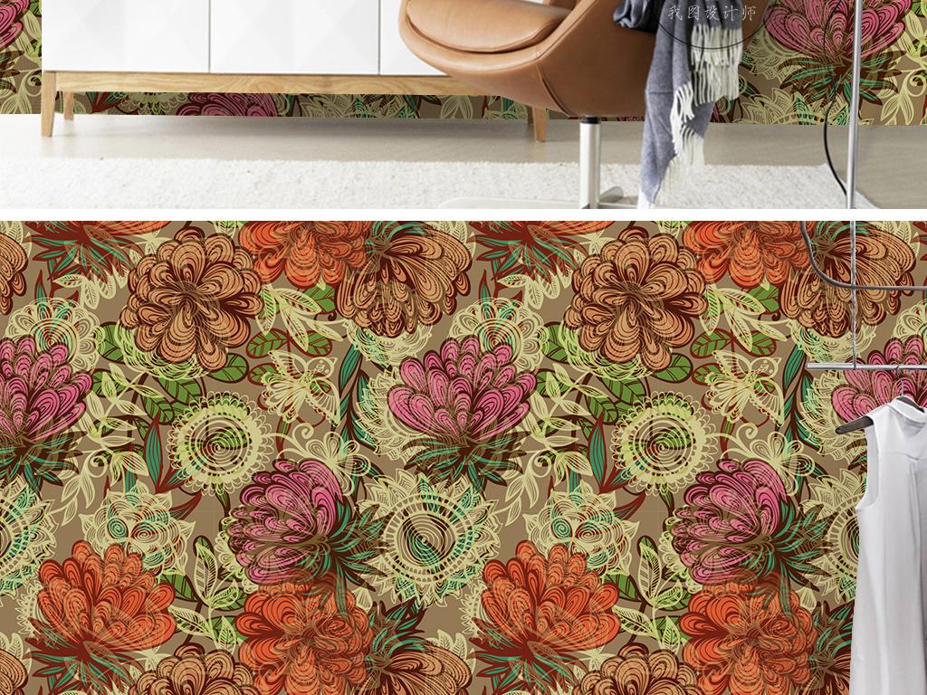 复古大气抽象花纹图案手绘花卉古典欧式墙纸